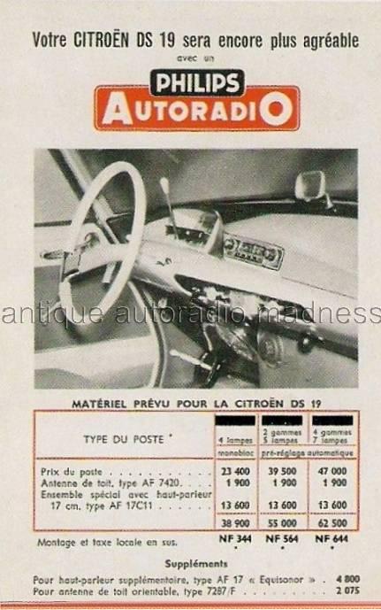 autoradios anciens citroen 1959