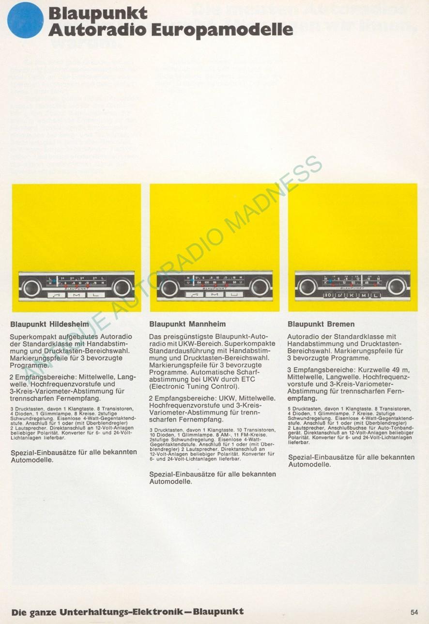 Catalogue autoradios Blaupunkt 6 (Germany)