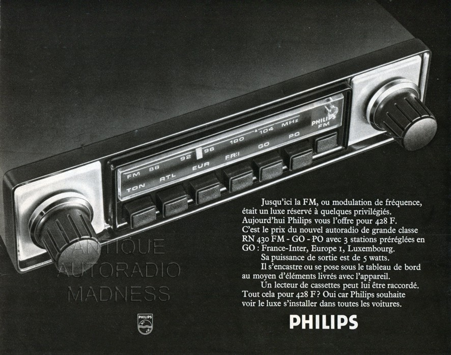 autoradio philips 1974. Black Bedroom Furniture Sets. Home Design Ideas