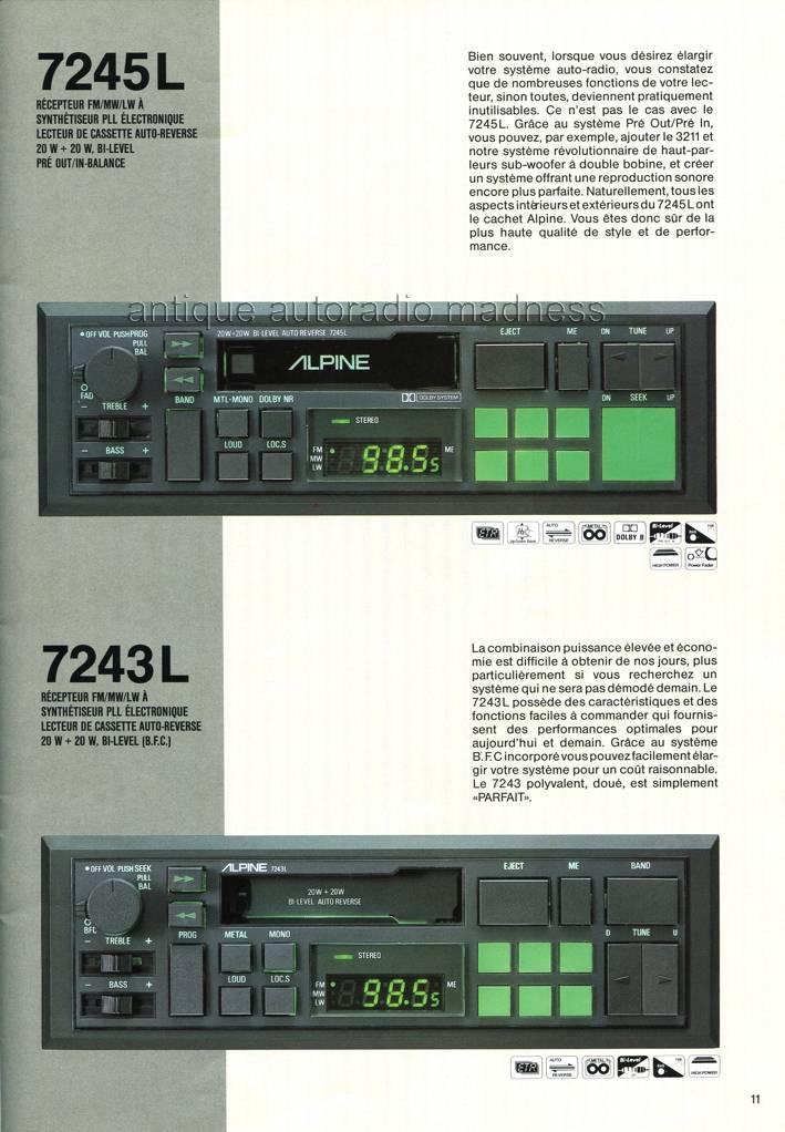Catalogue autoradio ALPINE vintage 1985-1