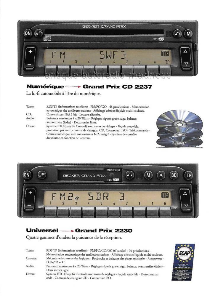 becker vintage car stereo unlimited 1996. Black Bedroom Furniture Sets. Home Design Ideas