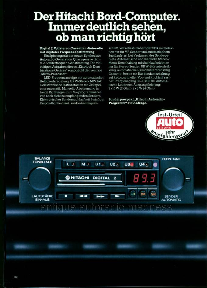 Hitachi Vintage Car Radio Catalogue 1980  1