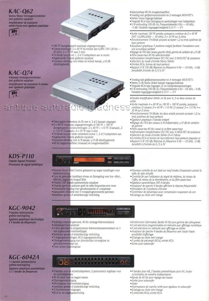 Catalogue Autoradio Kenwood Vintage 1996