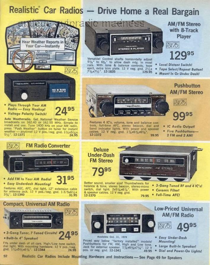 realistic 1975 vintage car radio
