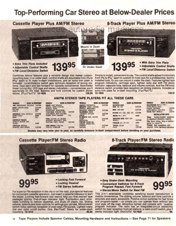 realistic 1978 vintage car radio