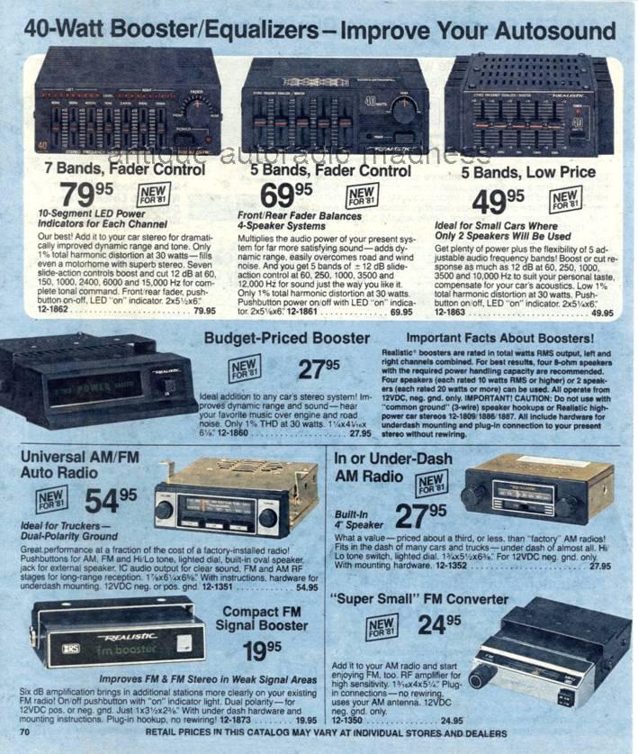 realistic 1981 vintage car radio