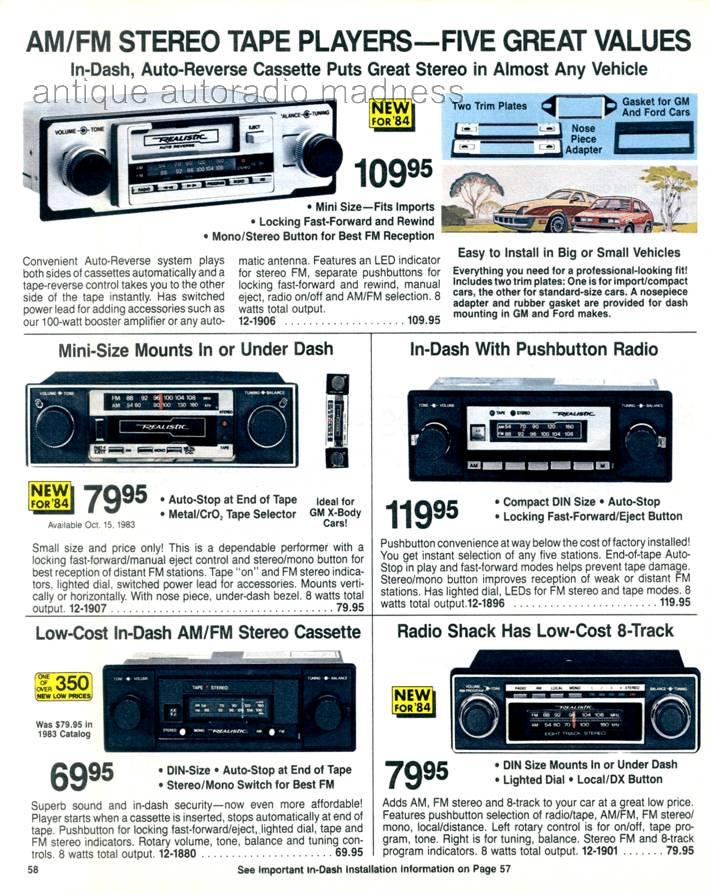 realistic 1984 vintage car radio
