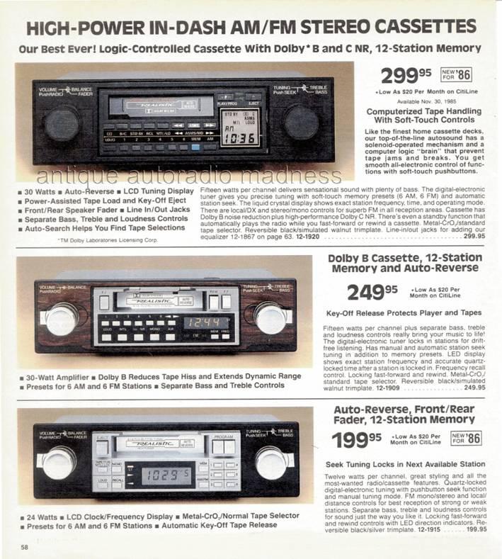 realistic 1986 vintage car radio