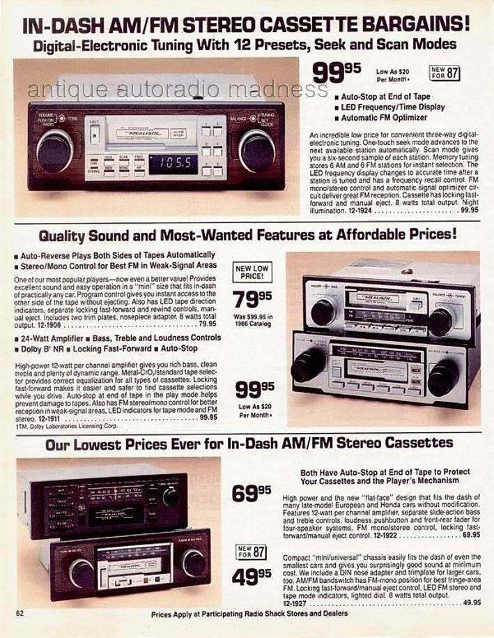 realistic 1987 vintage car radio