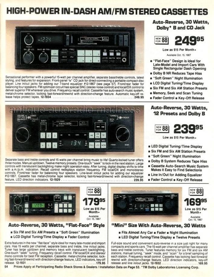 realistic 1988 vintage car radio