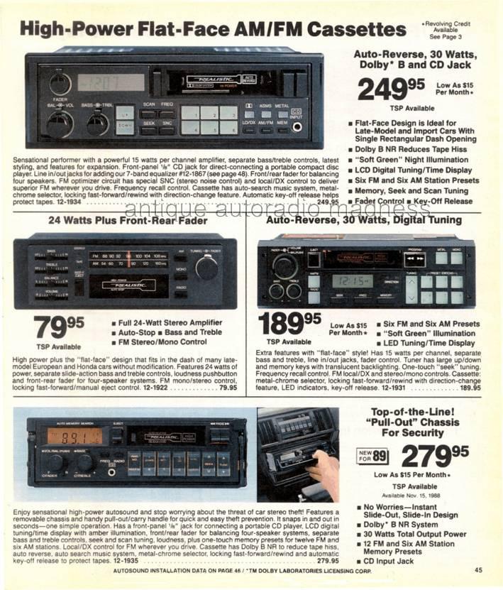 realistic 1989 vintage car radio
