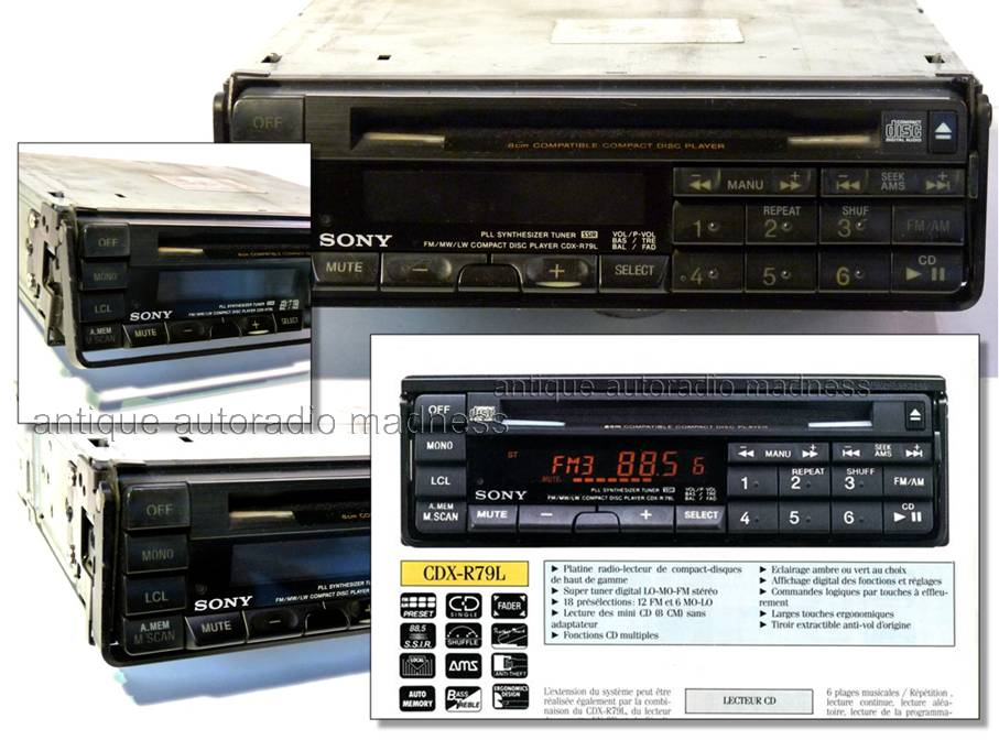 sony vintage car radio 1989. Black Bedroom Furniture Sets. Home Design Ideas